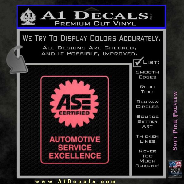 Ase Certified Mechanic Decal Sticker Rt A1 Decals