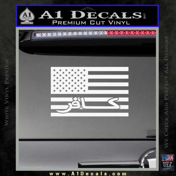 American Infidel Flag D1 Decal Sticker Gloss White Vinyl