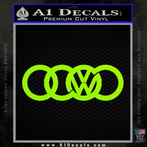 Audi VW Decal Sticker Lime Green Vinyl