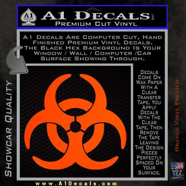 Biohazard Decal Sticker Standard D2 Orange Emblem