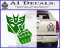 Decepticon Flipping Off Decal Sticker Green Vinyl Logo 120x97