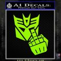Decepticon Flipping Off Decal Sticker Lime Green Vinyl 120x120