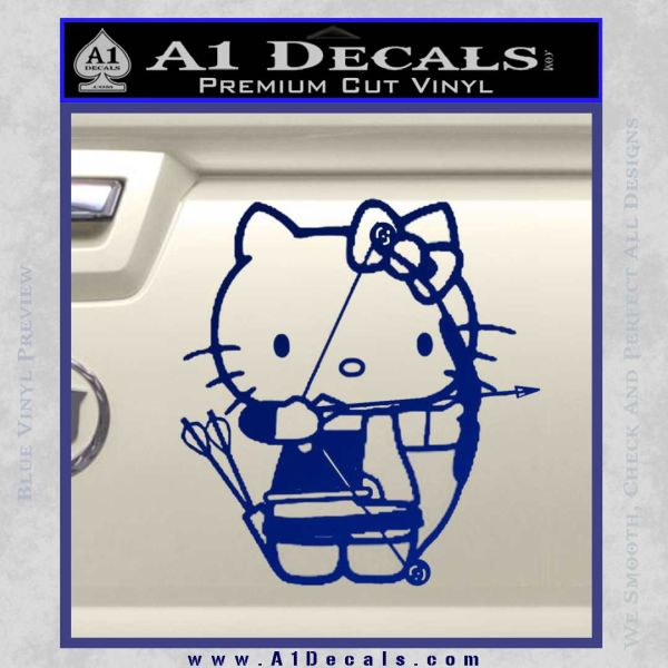 Hello Kitty Archery Compound Bow Decal Sticker Blue Vinyl