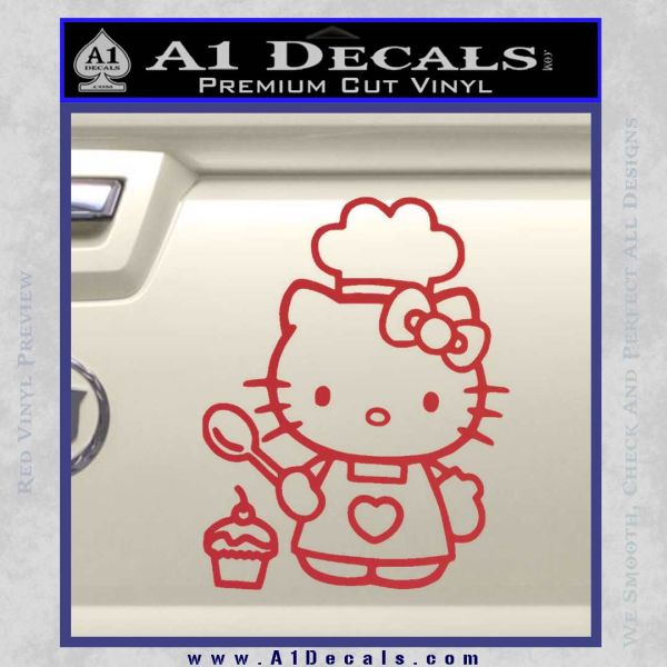 Hello Kitty Cupcake Decal Sticker D1 Red