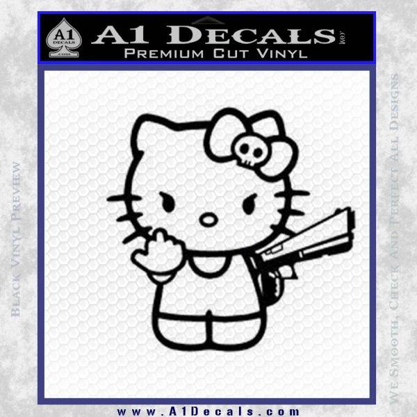 b5ff81fd0 Hello Kitty Finger Gun Decal Sticker Black Vinyl