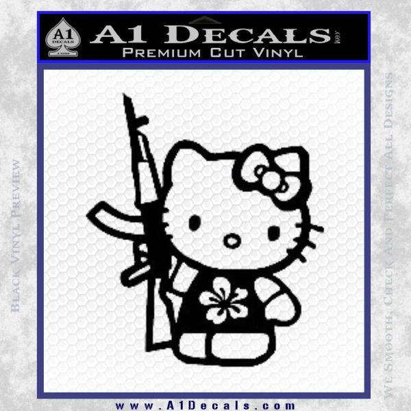 Hello Kitty Hibiscus Gun Decal Sticker Black Vinyl