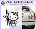 Hello Kitty Hibiscus Gun Decal Sticker Carbon FIber Black Vinyl 120x97
