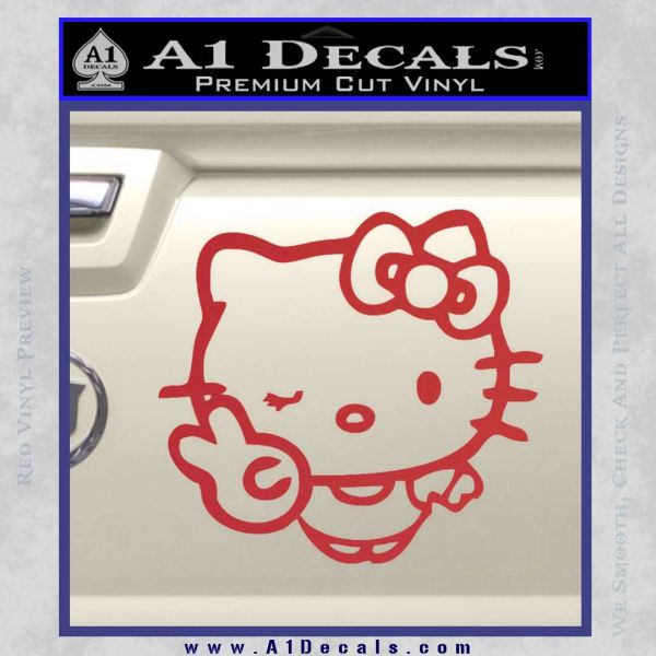 Hello Kitty Peace Wink Decal Sticker Red