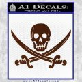 Jolly Roger Pirate Skull Decal Sticker BROWN Vinyl 120x120