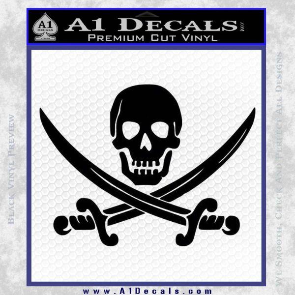 Jolly Roger Pirate Skull Decal Sticker Black Vinyl