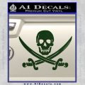 Jolly Roger Pirate Skull Decal Sticker Dark Green Vinyl 120x120