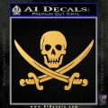 Jolly Roger Pirate Skull Decal Sticker Gold Vinyl 120x120