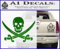 Jolly Roger Pirate Skull Decal Sticker Green Vinyl Logo 120x97