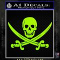 Jolly Roger Pirate Skull Decal Sticker Lime Green Vinyl 120x120