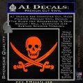 Jolly Roger Pirate Skull Decal Sticker Orange Emblem 120x120