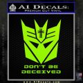 Transformers Christian Decal Sticker Decepticon Lime Green Vinyl 120x120