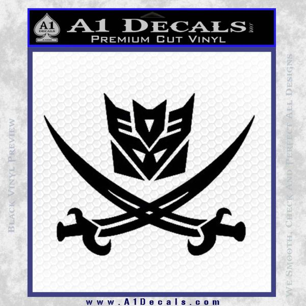 Transformers Decepticon Pirate Decal Sticker Black Vinyl