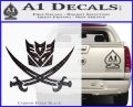 Transformers Decepticon Pirate Decal Sticker Carbon FIber Black Vinyl 120x97