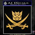 Transformers Decepticon Pirate Decal Sticker Gold Vinyl 120x120