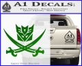 Transformers Decepticon Pirate Decal Sticker Green Vinyl Logo 120x97