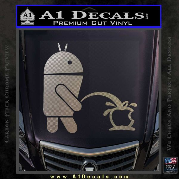 Droid pee apple car decal
