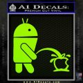 Android Pissing On Apple Decal Sticker Lime Green Vinyl 120x120