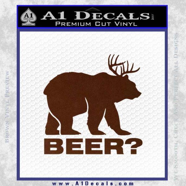Bear Hunting Decal Sticker Beer BROWN Vinyl