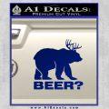Bear Hunting Decal Sticker Beer Blue Vinyl 120x120