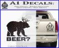 Bear Hunting Decal Sticker Beer Carbon FIber Black Vinyl 120x97