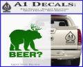 Bear Hunting Decal Sticker Beer Green Vinyl Logo 120x97