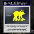 Bear Hunting Decal Sticker Beer Yellow Laptop 120x120