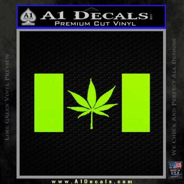 Canada Oh Cannabis Decal Sticker Lime Green Vinyl