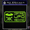 Certified UFO Mechanic Decal Sticker Lime Green Vinyl 120x120