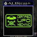 Certified UFO Mechanic Decal Sticker Lime Green Vinyl 120x120