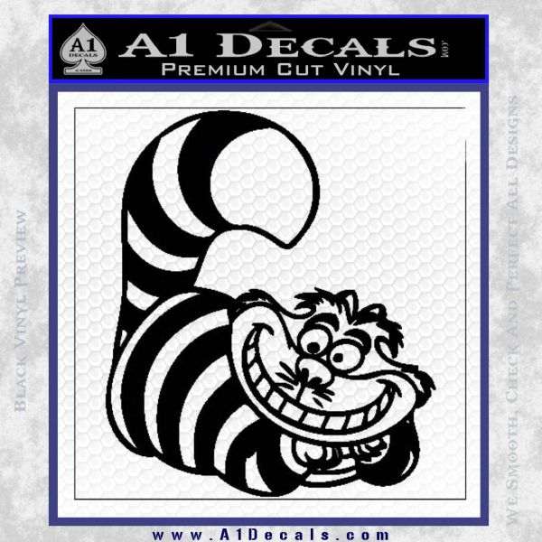 Cheshire Cat D2 Decal Sticker Black Vinyl