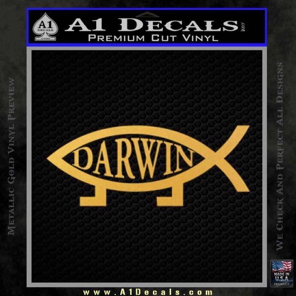 Darwin Jesus Fish Decal Sticker Gold Vinyl