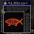 Darwin Jesus Fish Decal Sticker Orange Emblem 120x120