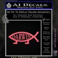 Darwin Jesus Fish Decal Sticker Pink Emblem 120x120