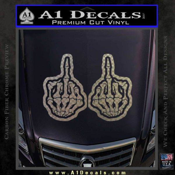 Double Skeleton Middle Fingers D2 Decal Sticker 187 A1 Decals