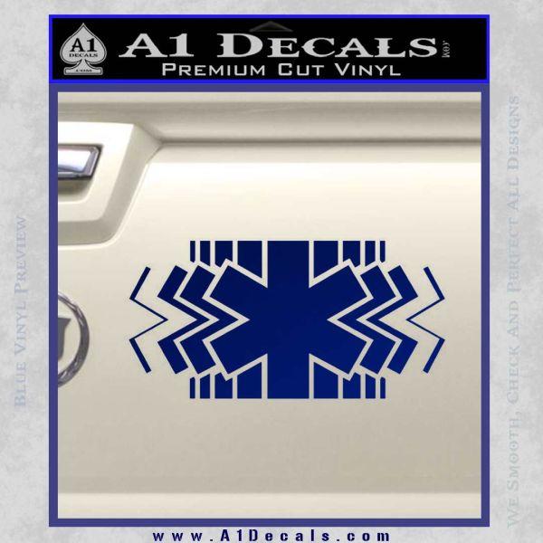 EMS Decal Sticker Wide Blue Vinyl
