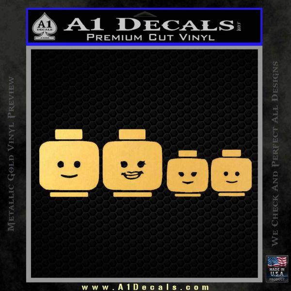 Family Lego Decal Sticker Heads Gold Vinyl