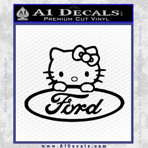 Ford Hello Kitty Full Decal Sticker Black Vinyl