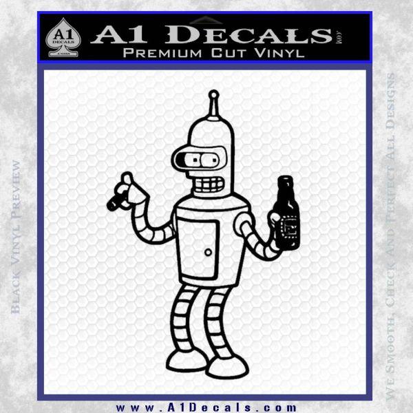 Futurama Bender Beer Cigar Decal Sticker Black Vinyl