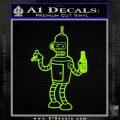 Futurama Bender Beer Cigar Decal Sticker Lime Green Vinyl 120x120