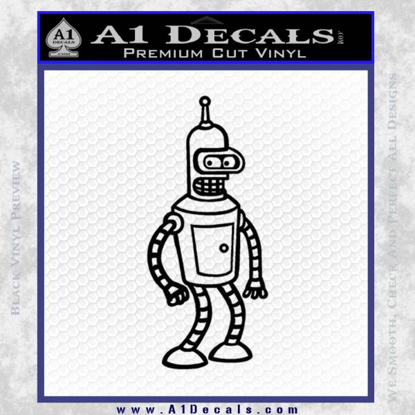 Futurama Bender Decal Sticker Black Vinyl