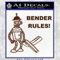 Futurama Bender Rules Construction Hat Decal Sticker BROWN Vinyl 120x120