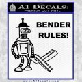 Futurama Bender Rules Construction Hat Decal Sticker Black Vinyl 120x120