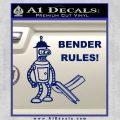 Futurama Bender Rules Construction Hat Decal Sticker Blue Vinyl 120x120
