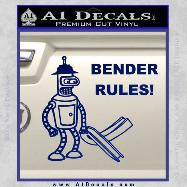 Futurama Bender Rules Construction Hat Decal Sticker Blue Vinyl