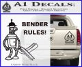 Futurama Bender Rules Construction Hat Decal Sticker Carbon FIber Black Vinyl 120x97